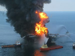 Deepwater Horizon offshore drilling unit on fire 2010 Wiki commons US Coastguard