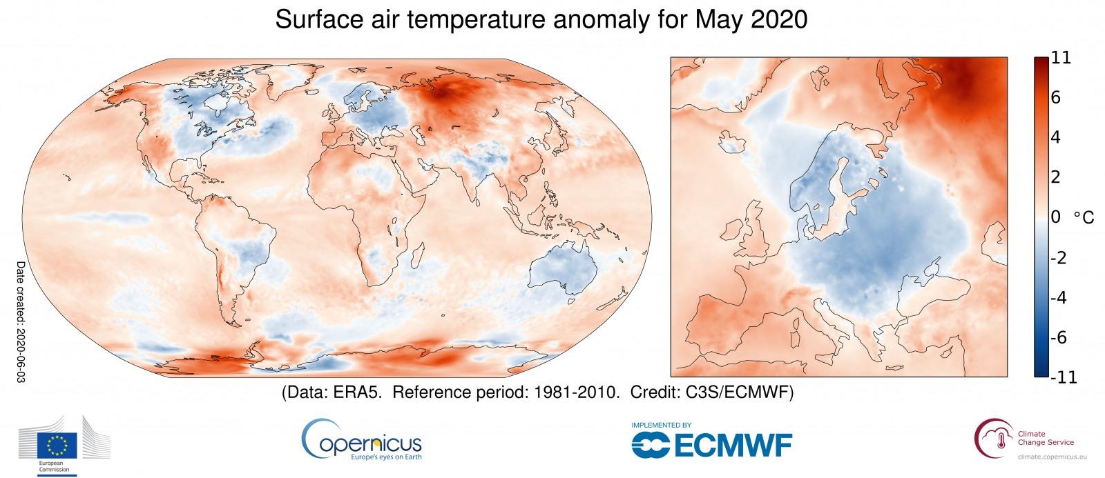 temperaturen im mai2020 map 1month anomaly Global ea 2t 202005 v02 copernicus