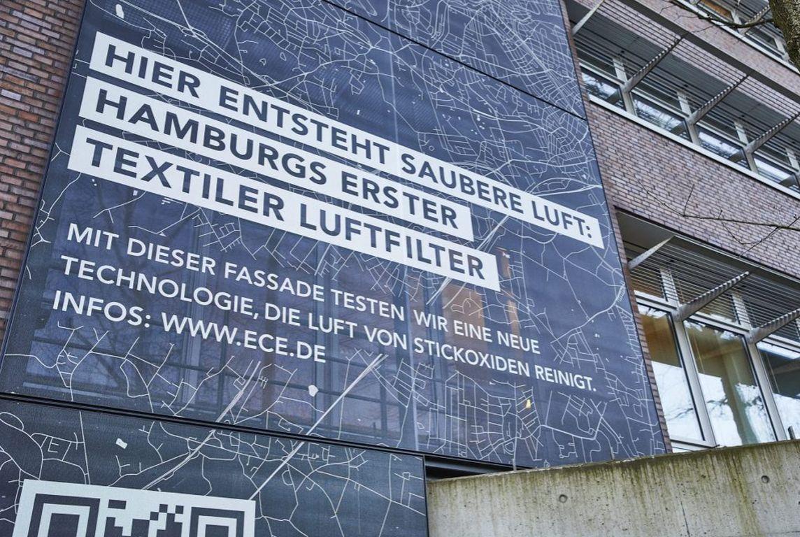 Textilfassade filtert Schadstoffe aus der Luft