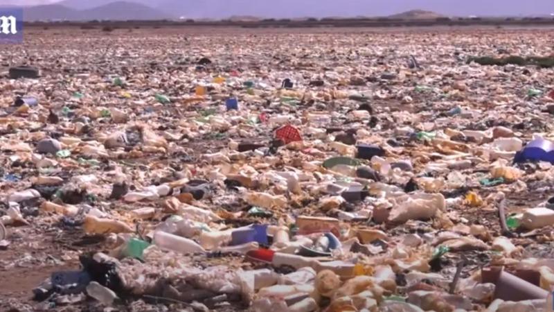 See verschwindet unter Plastikmüll