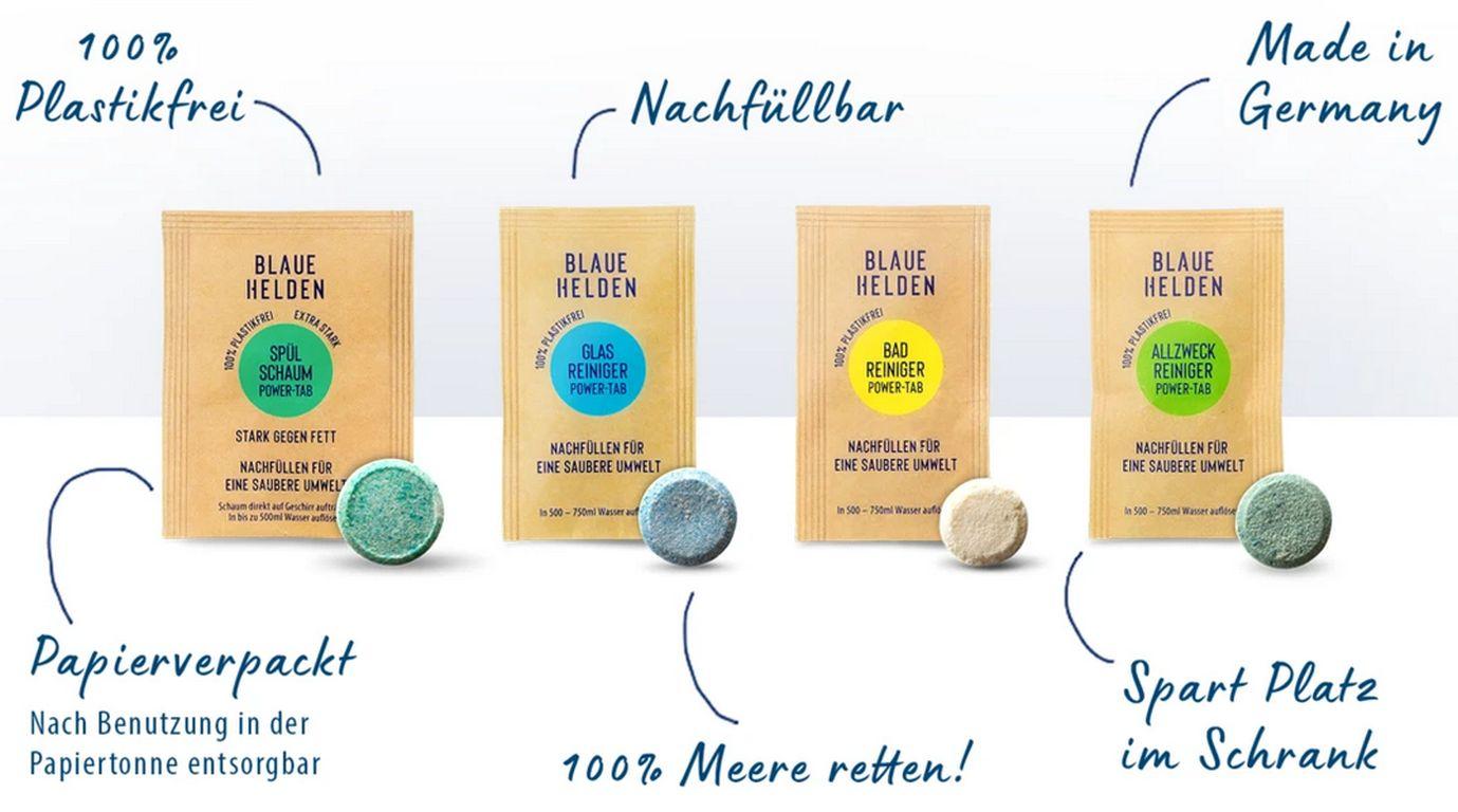 Papier-Verpackung der Blauen Helden besser als Plastik-Flaschen