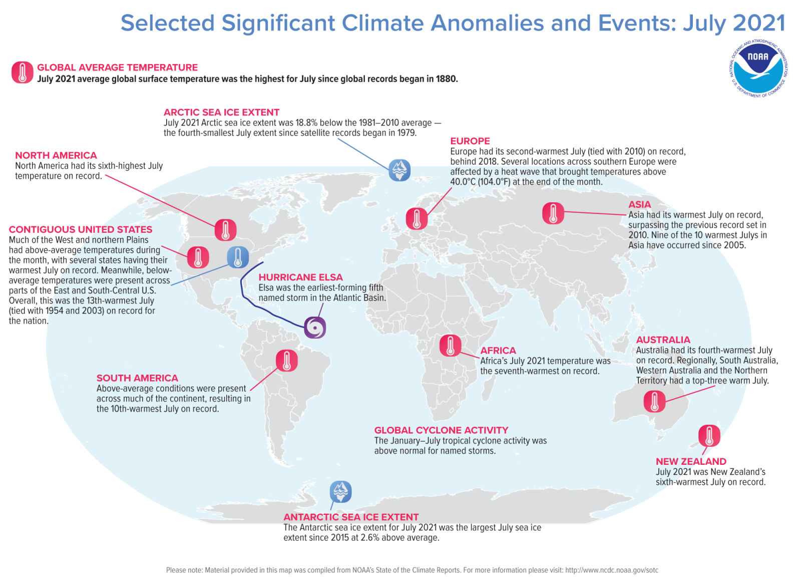 July 2021 Significant Events Map NOAA