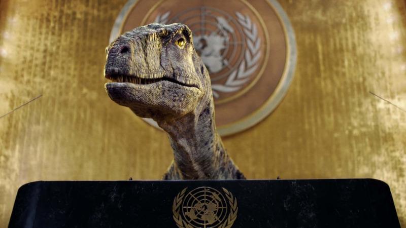 UNO-Dino warnt Menschheit vor dem Aussterben